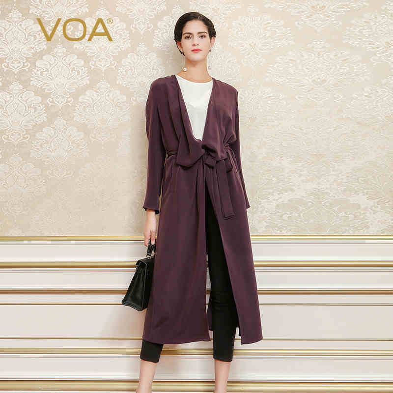VOA 2018 Spring Autumn Dark Purple Long Trench Brief Solid Plus Size Coat Heavy Silk Outwear Women Casual Belt Overcoat S6220