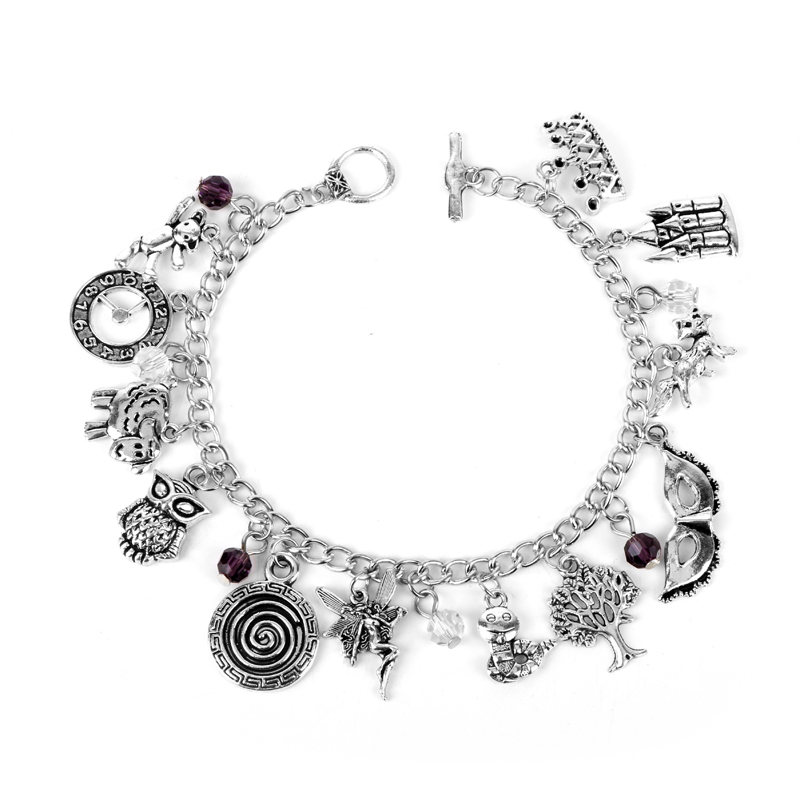 MQCHUN <font><b>Peter</b></font> <font><b>Pan</b></font> <font><b>Bracelet</b></font> Tinker Bell Flute Pirates Faith Trust Pixie Dust Wristlets Anklet Princess Crown Owl Kid Bangle Gift image