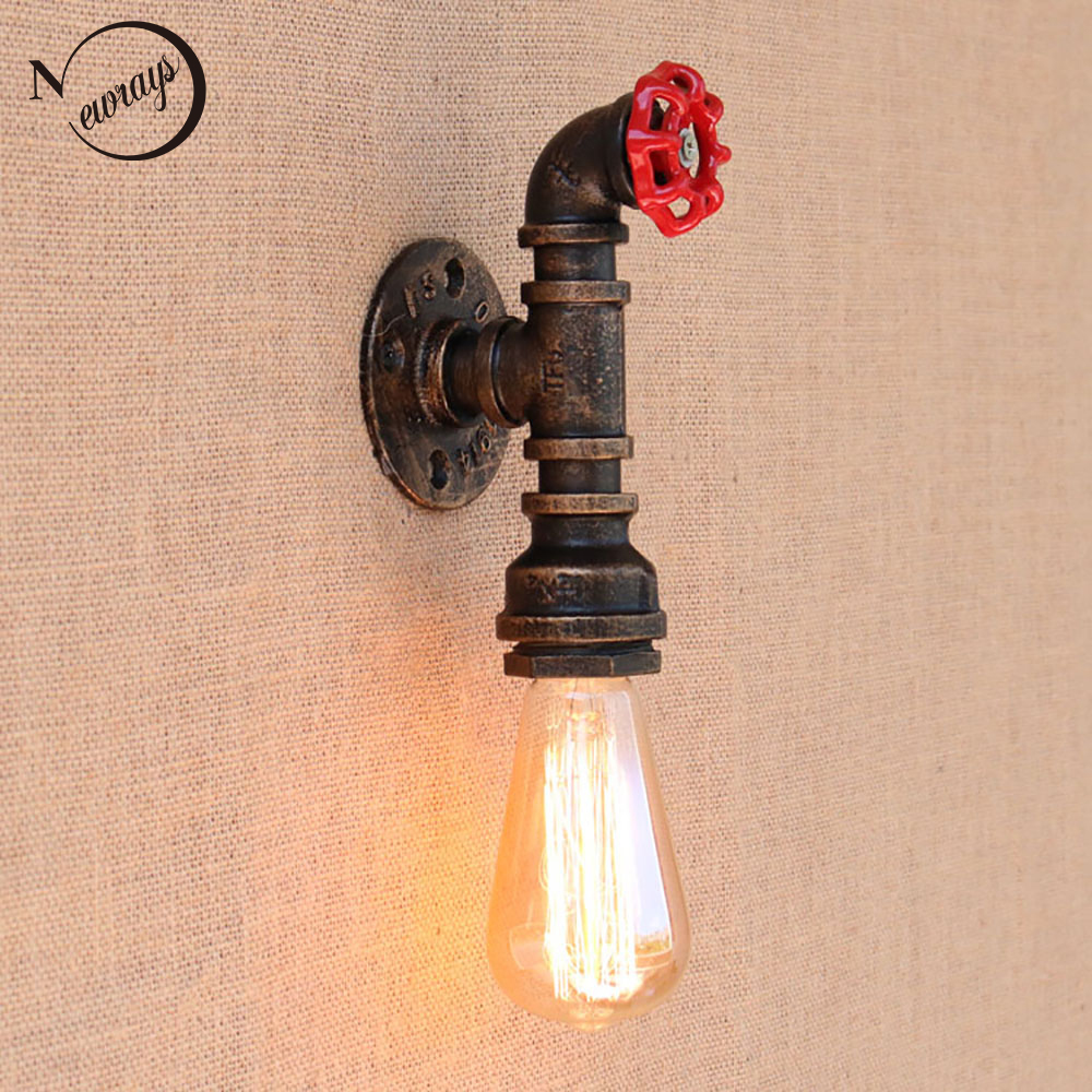 Loft Retro iron Water pipe vintage wall lamp with edison/led bulb e27 lights AC 110v-220v for cafe hallway bedroom study bar loft retro iron water pipe vintage wall lamp with edison led bulb e27 lights ac 110v 220v for cafe hallway bedroom study bar