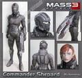 Mass Effect Shepard Figura Modelo de Papel