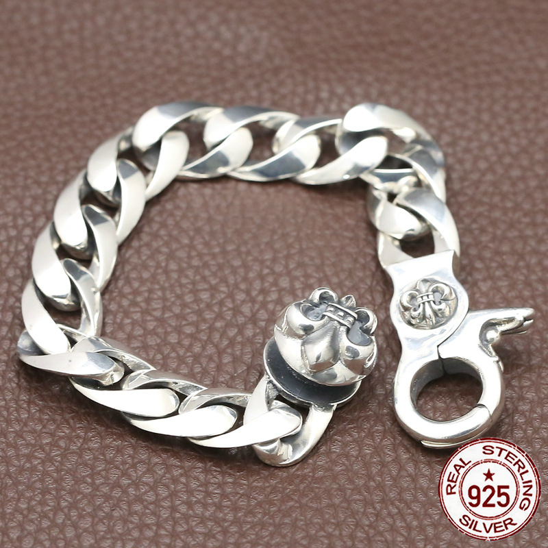 100% S925 bracelet en argent sterling personnalité élégant minimaliste rétro bijoux dominateur ancre forme pour envoyer un cadeau d'amour