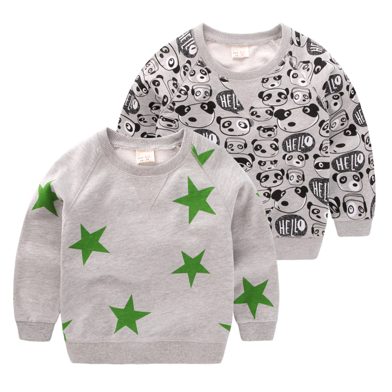 2017 New Autumn Children Hoodies Boys Sweatshirts Toddler Boy T-shirts Cute Sweater Fashion Tops Kids Stars Panda Clothes