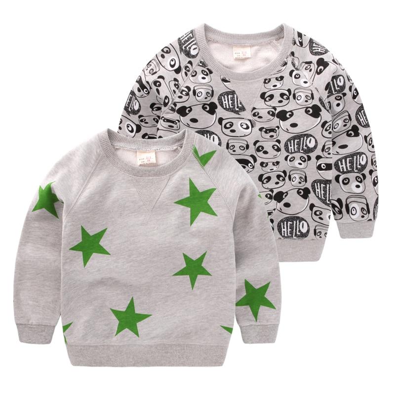 2017 New Autumn Children Hoodies Boys Sweatshirts Toddler Boy T-shirts Cute Sweater Fashion Tops Kids Stars Panda Clothes