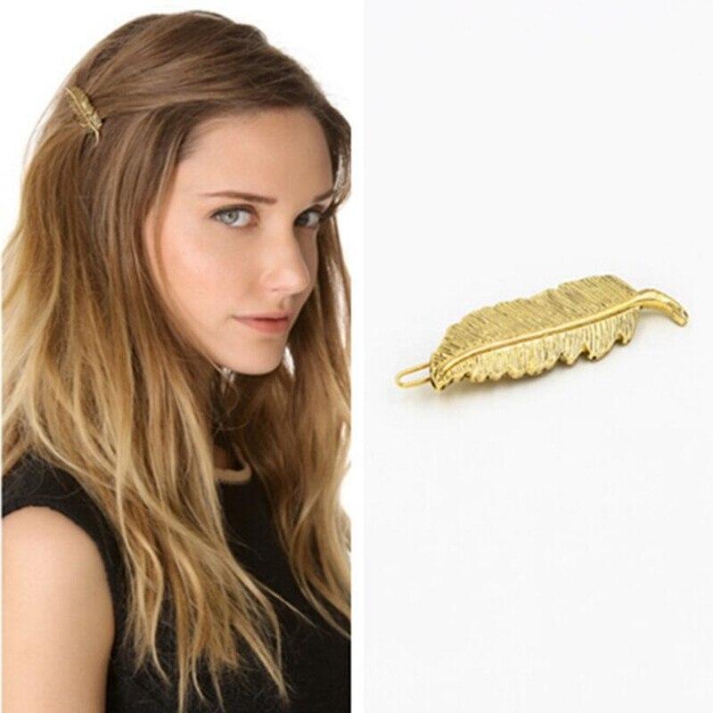 Лист текстуры клип шпилька для волос мода головной убор Перо листья 6 см длинные, 1.5 см широкий