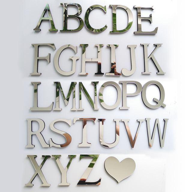 new acrylic EVA wedding sticker love letters Home decoration English 3D mirror wall Stickers Alphabet LOGO Free shipping