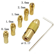 6pcs 0.5-3mm Copper Chucks and 2.35mm/3.17 Electric Drilling Bit Collet Micro Twist Drill Chuck Collets Power Tools