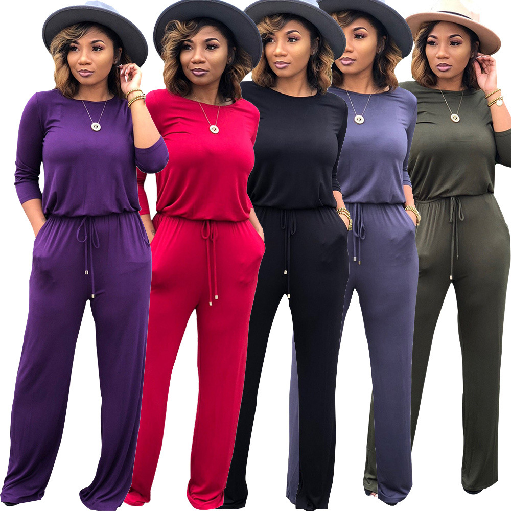 New 2018 Women Autumn Winter European Style Frenulum Sexy O Neck Casual Jumpsuits Long Sleeve Bodysuits Femme Rompers