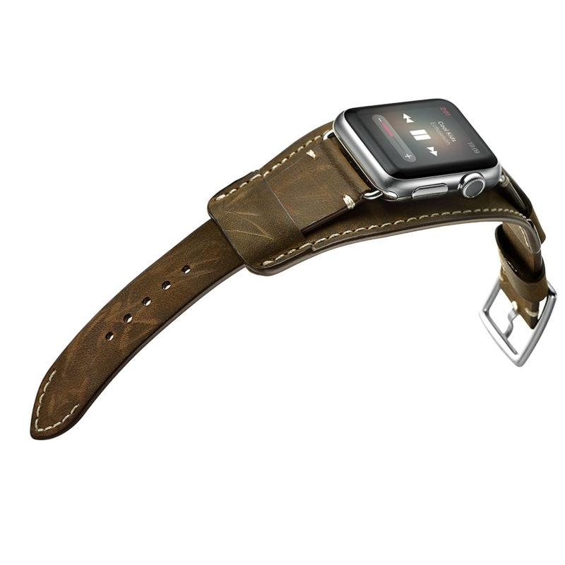 Apple Watch Band, ylellinen aito nahka katsella bändi hihna rannerengas korvaaminen ranne bändi hullu hevonen Apple Watch