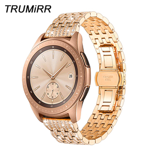 Image 1 - Diamond Watchband for Samsung Galaxy Watch 42mm 46mm Active 2 40mm 44mm Band Stainless Steel Strap Women Men Jewelry Bracelet