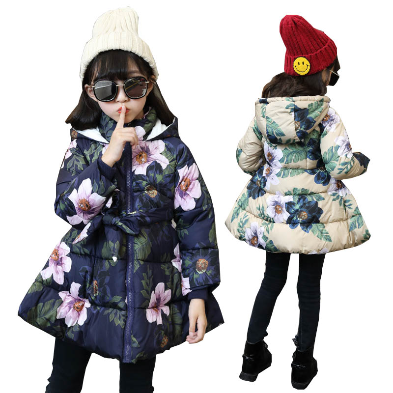 Girls winter coats outerwear girls floral down parkas children jackets for girls down coat kids down jacket warm girls outerwear children winter coats jacket baby boys warm outerwear thickening outdoors kids snow proof coat parkas cotton padded clothes
