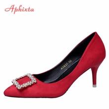 0e360546d Aphixta Luxo Bombas Mulher Strass Finos Saltos Altos Das Senhoras Sapatos  de Casamento Sapatos de Cristal Do Dedo Do Pé Apontado.