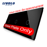 Free Shipping Livolo Luxury Black Crystal Glass 222mm 80mm EU Standard Triple Glass Panel VL C703