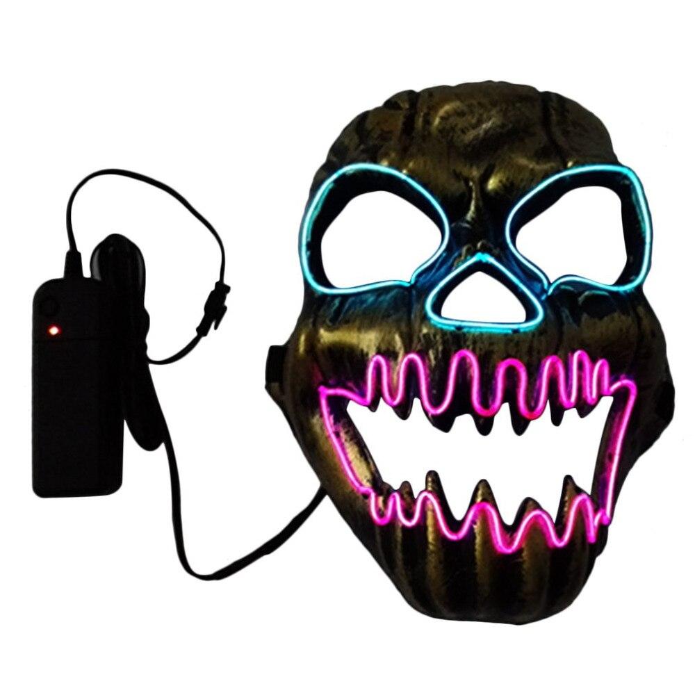 prezzo incredibile qualità perfetta vestibilità classica US $12.87 |2017 Halloween Capo Banda Maschera Orribile Bocca Aperta Fire  Skull EL Masquerade Feste Danzanti LED SlipKnot Maschera Decorazione di ...