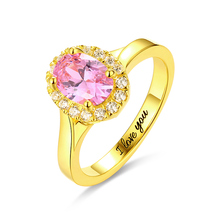AILIN Engraved Sterling Silver Stunning Oval Shaped Stone Halo Ring In Gold Color Jewelry For Women