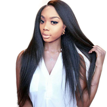 Full End Italian Yaki Straight Lace Front Human Hair Wigs For Black Women Pre Plucked Bleached