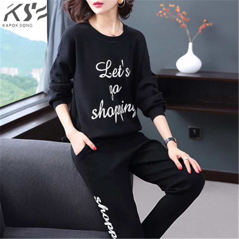 2018 Fashion casual pants suit fall round letter sweater high waist thin straight pants two women