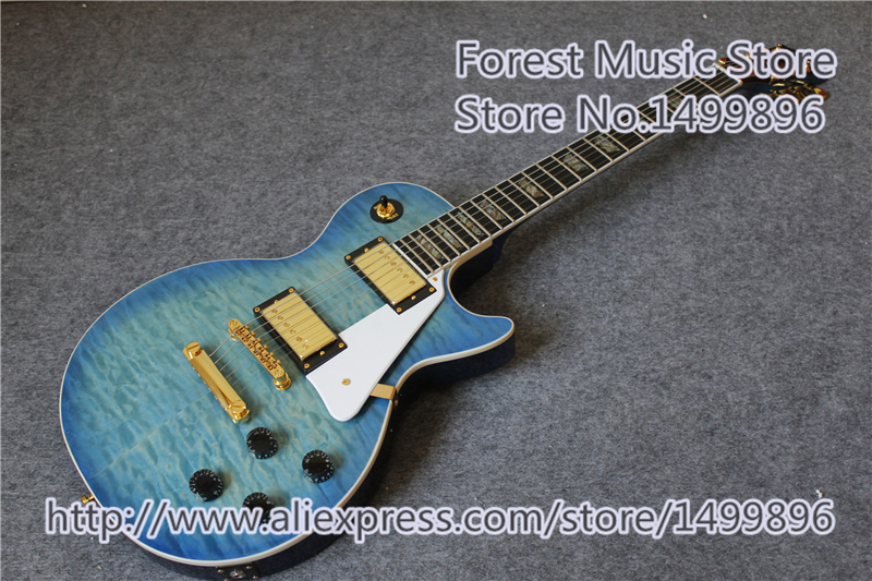 2016 China Custom Shop Flame Maple Neck LP Standard Electric Guitar Real Abalone Inlay As Picture high quality wholesale custom shop 1959 r9 tiger flame electric guitar standard lp 59 electric guitar hot