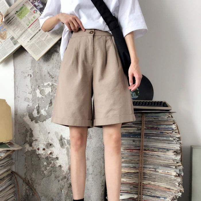 Half Length Vintage Cotton   Shorts   Summer Knee Length Office Lady Fashion Loose Casual   Shorts   Women Mini Trousers with Pockets XL