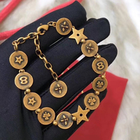 2019 Fashion Party Jewelry For Women Vintage Bangle Star Bee Letter Vintage Party Bangle Yellow Brass Bracelet Copper Jewelry