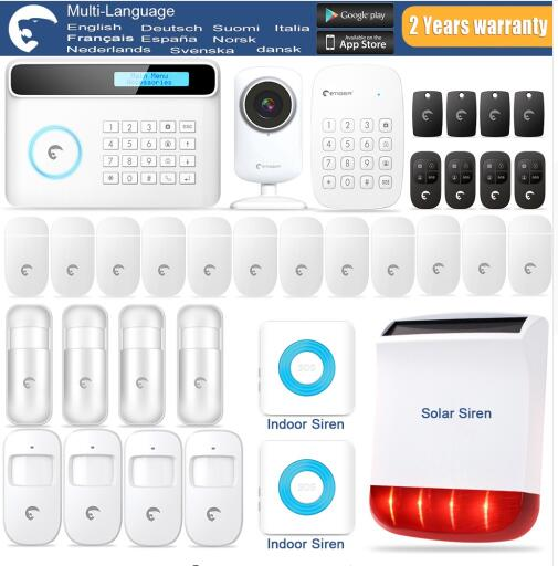 2018 Most Popular Alarm Etiger Wireless GSM Alarm system Safe home burglar Alarm system With Solar-powered Siren wireless service call bell system popular in restaurant ce passed 433 92mhz full equipment watch pager 1 watch 7 call button