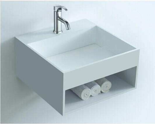 Solid Surface Badkamer : Rechthoekige badkamer solid surface stone muur gehangen wastafel en