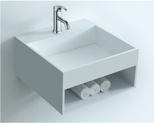 Rectangular bathroom solid surface stone Wall hung sink and fashionable Cloakroom Stone wall mounted wash basin RS3836 1098