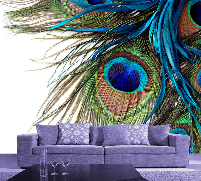 Modern Large Wall Mural Peacock Feather Wallpaper Chinese