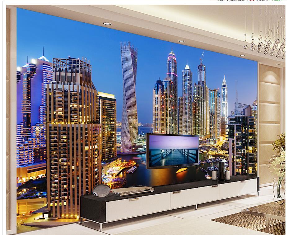 Decorazione Della casa Bella Dubai night view soggiorno TV ...