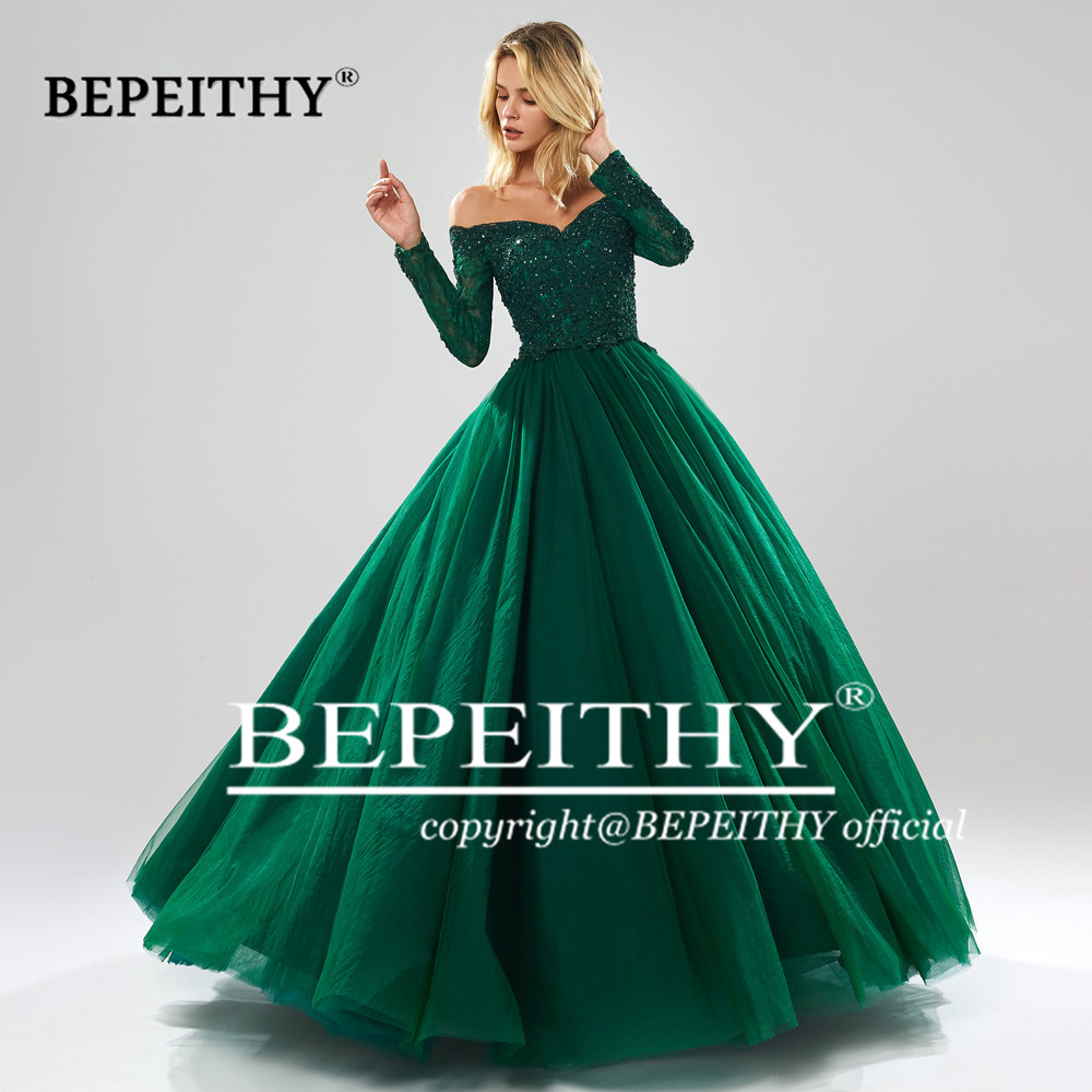 Bepeithy mangas compridas vestido de baile vestidos de noite querida robe de soiree verde vestido de noite festa 2019 abendkleider - 5