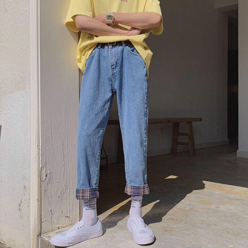 2019 Men's New Pattern Stretch Slim Fit Cargo Pocket Wash Jeans Mens Concise Tide Male Young Pants Biker Denim Trousers M-2XL