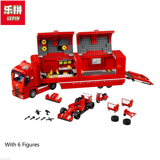 Lepin 21010 Technic Super Racing Car Series The Red Truck Set children Educational Building Blocks Bricks Toys Model 75913 lepin 21010 super race formula f1 racing container truck model building kits block 914pcs bricks toys gift for children 75913