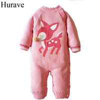 Hurave Newborn boys and girls Baby Romper Single breasted plus Cashmere Deer prints Cotton long sleeve winter warm baby clothes