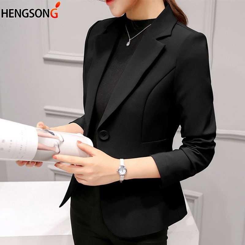 Vino rojo negro mujeres Blazers y chaquetas 2018 nueva primavera otoño moda americana de una sola botonadura Femenino damas Blazer Mujer