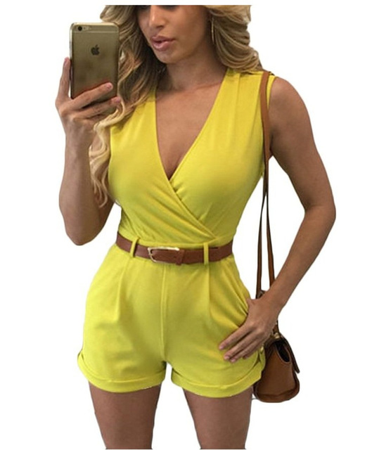 722f911d3d1 Deep V-neck Women Jumpsuit Rompers New 2016 Fashion Sexy Cleavage Solid  Summer Sleeveless Shorts Bodysuit With Belt LT0093