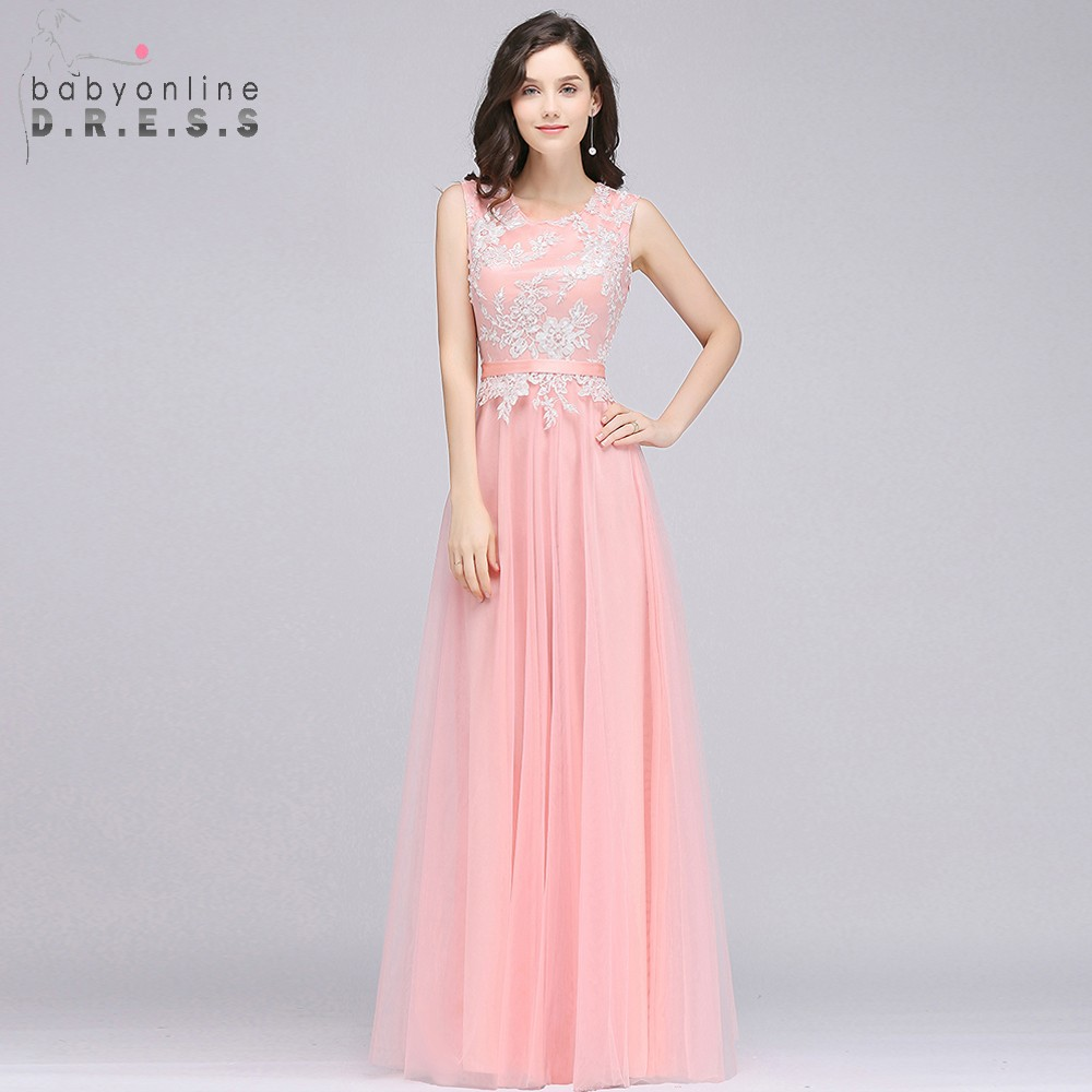O Neck A Line Long Evening Dresses Tulle Appliques Sash Robe De ...