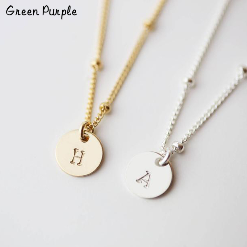 925 Silver Coins Necklace Custom Initial Pendants Handmade Jewelry Letter Name Chocker Personalized Boho Kolye Necklace Women