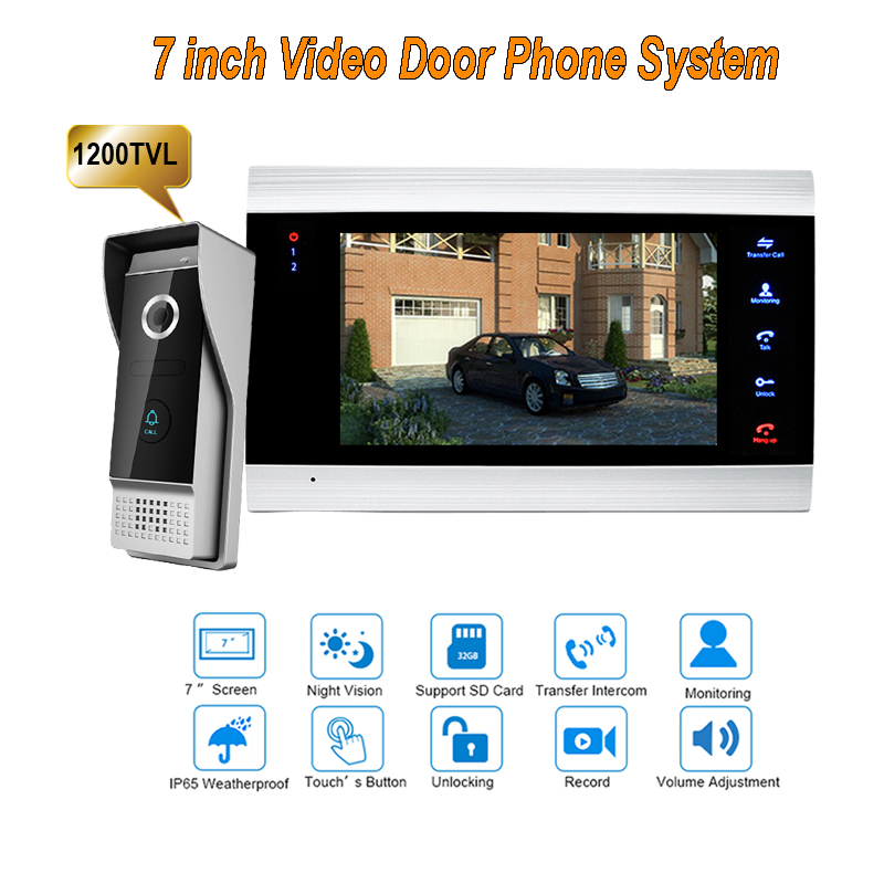 7 Wired Night Visual Video Door Phone Doorbell Intercom System Security TFT LCD Monitor Monitors Waterproof 1200TVL 1V1 homefong villa wired night visual color video door phone doorbell intercom system 4 inch tft lcd monitor 800tvl camera handfree