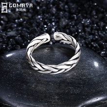 GOMAYA Vintage Punk Ring 925 Sterling Silver Retro Antique Fine Jewelry for Women Finger Rings Weave Rock Bijoux Classic Anel zabra solid luxury 925 silver customized ring beauty and the beast punk rock vintage rings for men women luxury jewelry