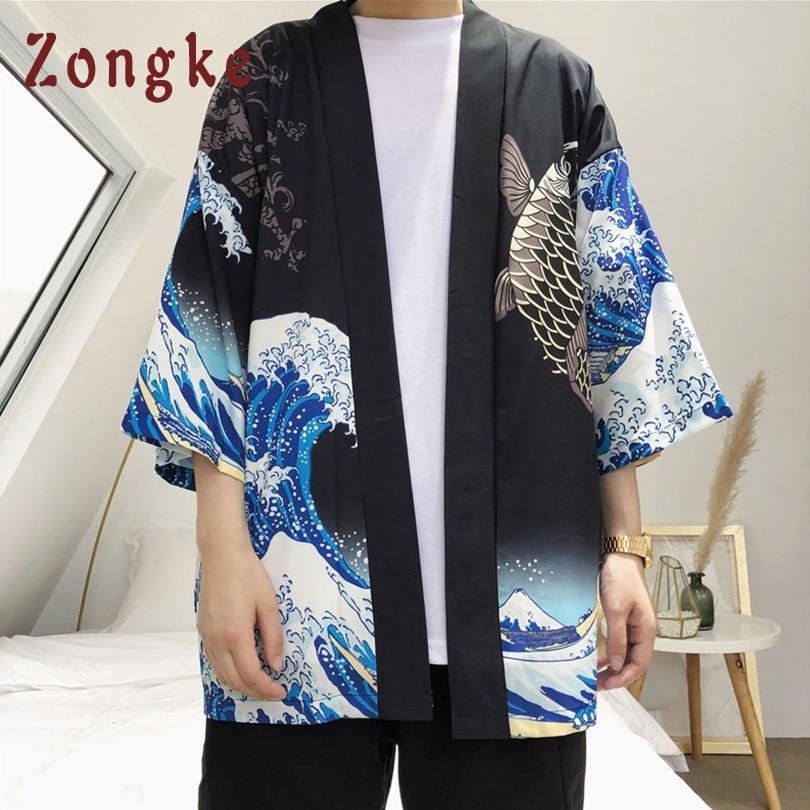 Zongke Japanese Kimono Cardigan Men Wave and Carp Print Long Kimono Cardigan Men Thin Mens Kimono Zongke Japanese Kimono Cardigan Men Wave and Carp Print Long Kimono Cardigan Men Thin Mens Kimono Cardigan Jacket Coat 2018