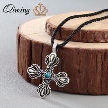 QIMING New Handmade Men Jewelry Norse Cross Viking Cross Norse Women Silver Necklace Chokers Vintage Jewelry Bijoux(Hong Kong,China)