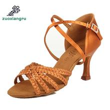 Size 33-39 Dance Shoes For Woman Adult Soft Bottom Awl High Heel Salsa Square Dance Shoes Practice Sneakers Latin Dance Shoes blue shining elisha latin dance shoes for woman ballroom shoes square and thin high heel available xc 6332