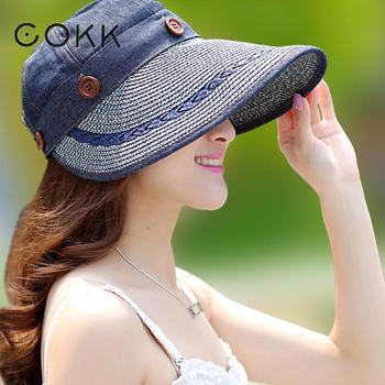e8d9c6ef4b COKK Chapéus Mulheres Ampla Grande chapéu da Borda Floppy Summer Beach Sun  Straw Hat Cap Botão Ch