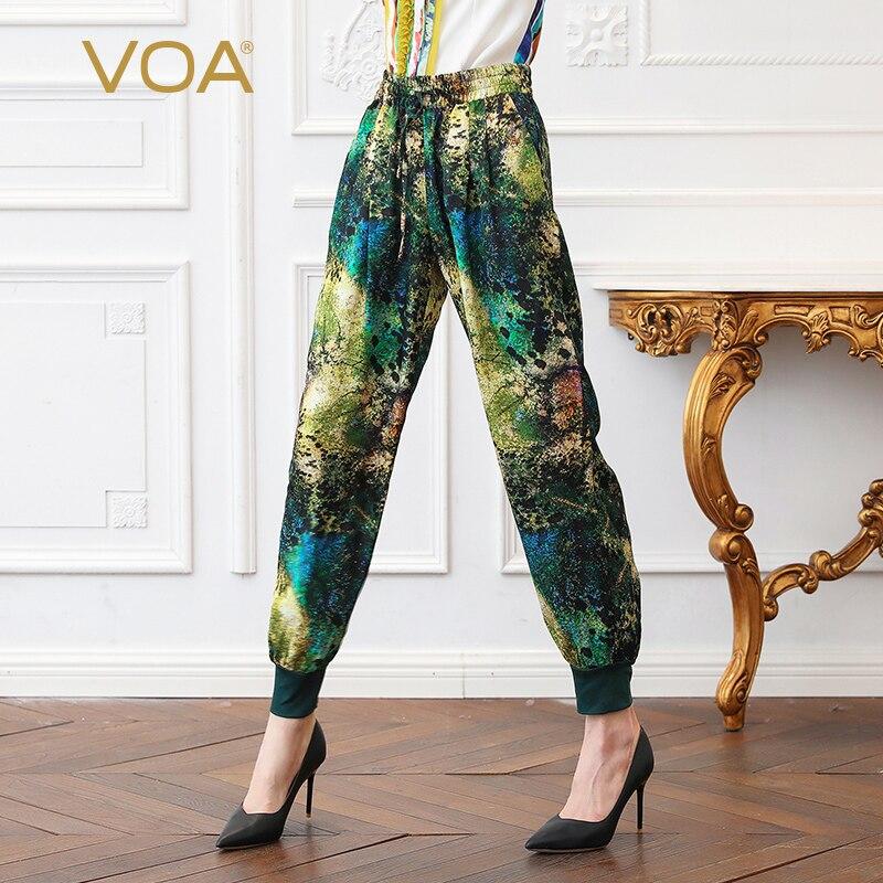 VOA soie Harem pantalon femmes Long pantalon grande taille 5XL imprimé Floral Vintage décontracté printemps taille moyenne poches inclinées loisirs K2191