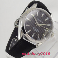 лучшая цена 41mm Corgeut Black Dial Sapphire Crystal Date Stainless steel Case Miyota Automatic Movement men's Watch