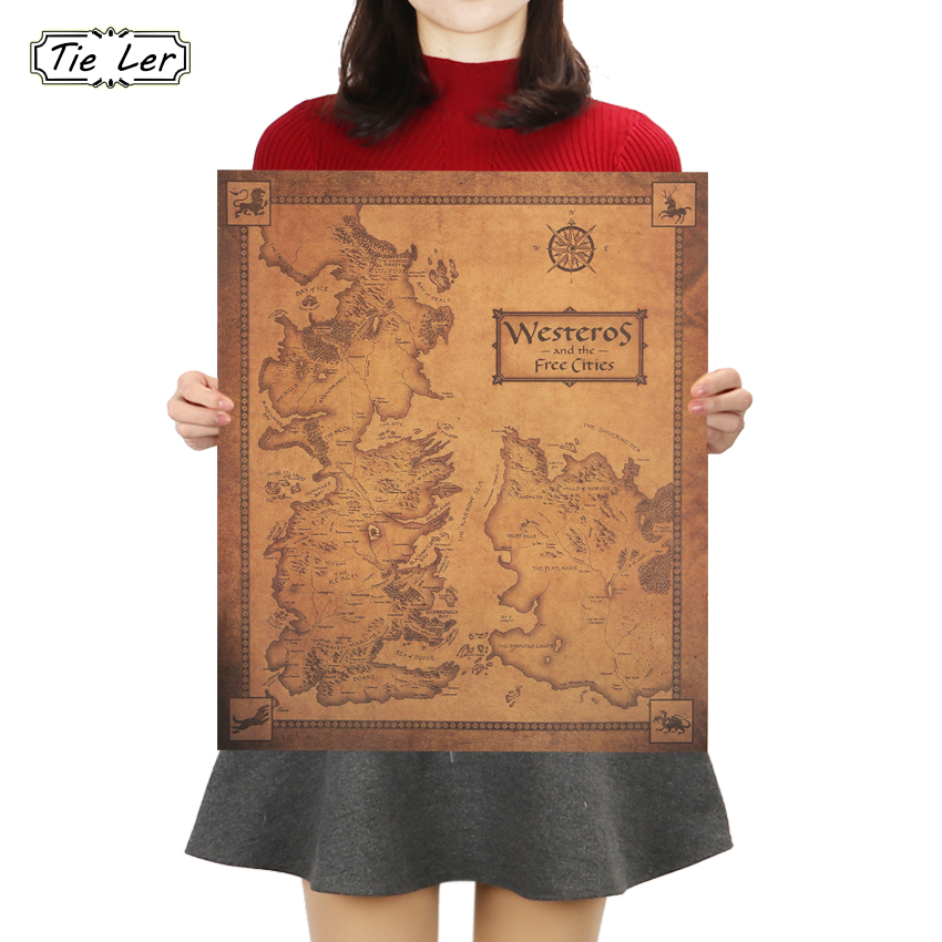 TIE LER Game of Thrones Westeros Map Retro Kraft Paper Poster Interior Bar Cafe Decorative Painting Wall Sticker 42X36cm in Wall Stickers from Home Garden