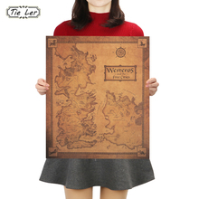 TIE LER Game of Thrones Westeros Map Retro Kraft Paper Poster Interior Bar Cafe Decorative Painting Wall Sticker 42X36cm