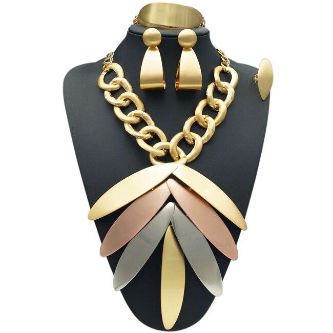 YULAILI Dubai Gold Color Luxury Jewelry Sets Bridal Nigerian Women Fashion African Beads Accessories