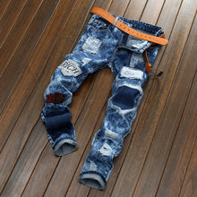 newest European American Style fashion brand mens jeans luxury Men straight denim trousers zipper Slim blue jeans for men