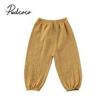 2017 nueva marca niño infantil niños, bebés, niñas Niño Pantalones arrugada de algodón bombachos retro pantalones Legging sólido pantalones 6 M-4 T