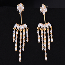 Siscathy 49*13mm Luxury Cubic Zirconia Women Stud Earrings Fashion Dubai Wedding Party Jewelry Accessories
